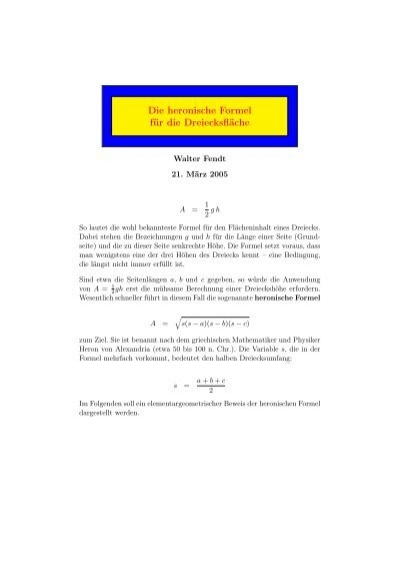 PDF) Die heronische Formel für die Dreiecksfläche - Walter Fendt