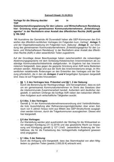 2 Entwurf (Stand: 31.10.2011) Vorlage für die Sitzung des/der am in ...