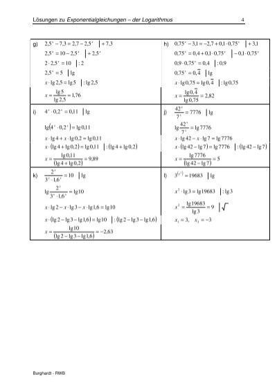 Beautiful Lösung Exponentialgleichungen Mit Logarithmen ...