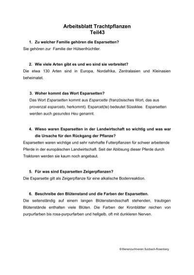 Arbeitsblatt Trachtpflanzen - Bienenzuchtverein Sulzbach ...