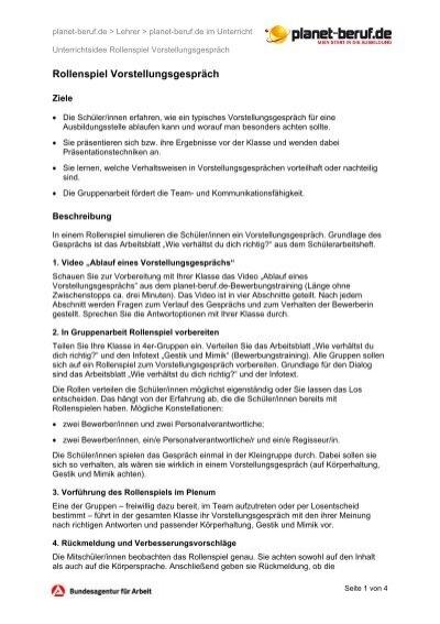 Arbeitsblatt: Unterrichtsidee Bewerben Rollenspiel - Planet Beruf.de