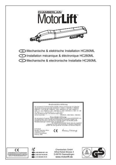 Mechanische & elektrische Installation HC260ML ... - Chamberlain