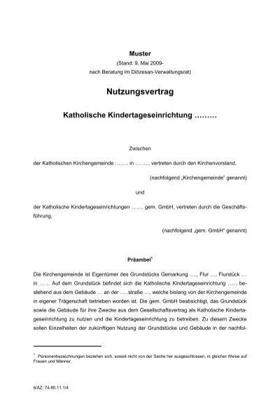 Nutzungsvertrag Katholische Kitas Hochstift