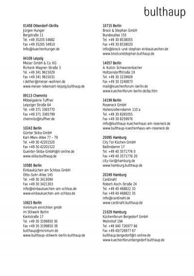 01458 Ottendorf Okrilla Ja Rgen Hunger Bergstraaÿe 11 Tel Bulthaup
