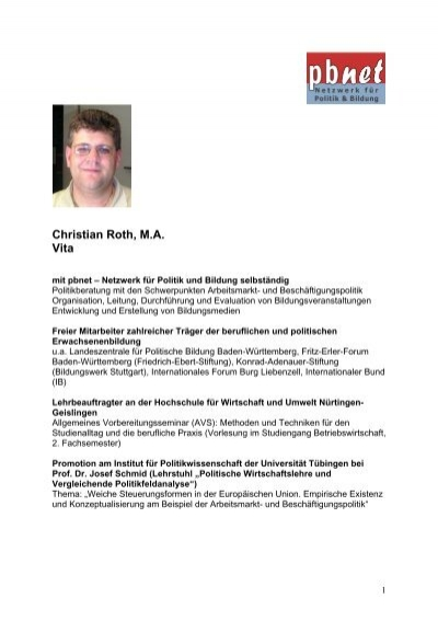 Vita Christian Roth Pdf Pbnet Netzwerk Für Politik Und Bildung