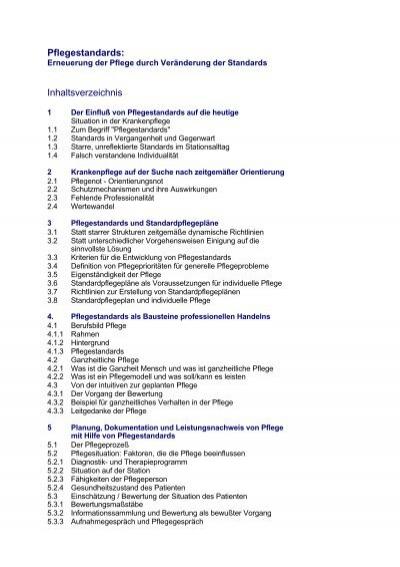 inhaltverzeichnis springerbuch pflege pflegen mit konzept - Pflegestandards Beispiele