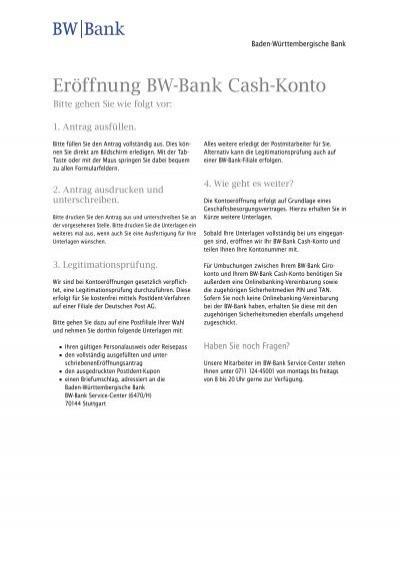 Eröffnung BW-Bank Cash-Konto