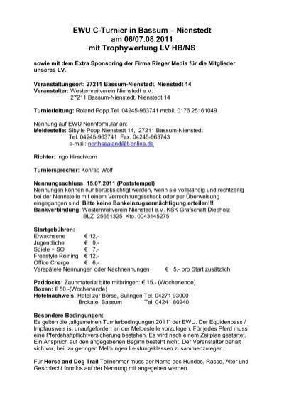 EWU C-Turnier in Bassum – Nienstedt am 06/07.08.2011 mit ...