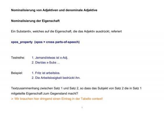 denominale adjektive - Nominalisierung Beispiele