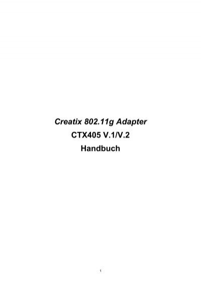 DRIVERS: CREATIX 802.11 G ADAPTER
