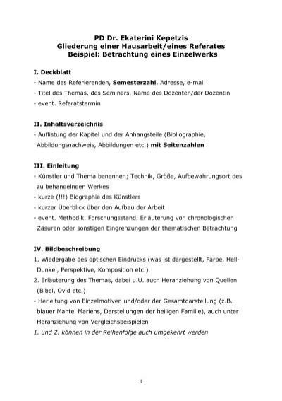 gliederung einer hausarbeit kunsthochschule kassel - Seminararbeit Einleitung Beispiel