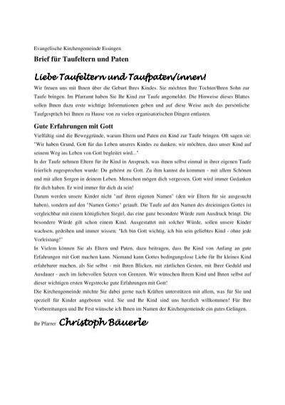 Brief Für Taufeltern Und Paten Evangelische