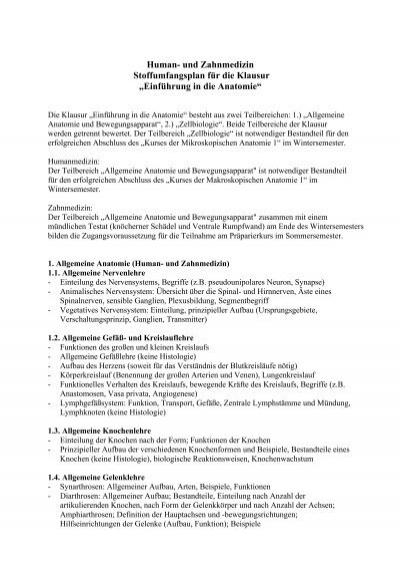 Stoffumfangsplan für die Klausur Einführung in die Anatomie