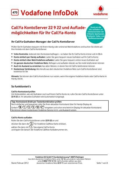 Infodok 470 Callya Kontoserver 22 9 22 Und Auflade Vodafone