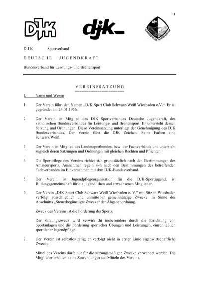 vereinssatzung pdf djk schwarz weiss wiesbaden - Muster Vereinssatzung