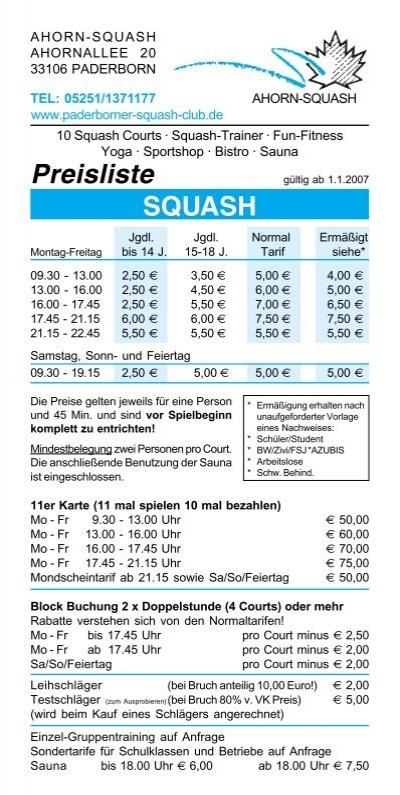 preisliste squash paderborner squash club. Black Bedroom Furniture Sets. Home Design Ideas