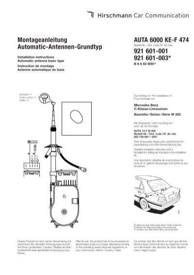 Ersatz Teleskop für Hirschmann Automatik Antenne in Mercedes-Benz W 202 C-Klasse