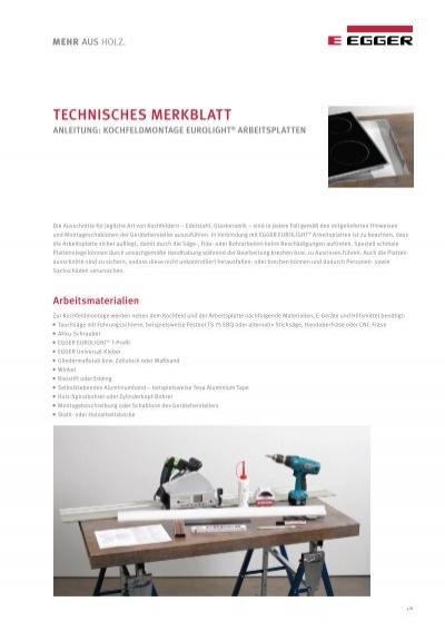 eurolight arbeitsplatten kochfeldmontage. Black Bedroom Furniture Sets. Home Design Ideas