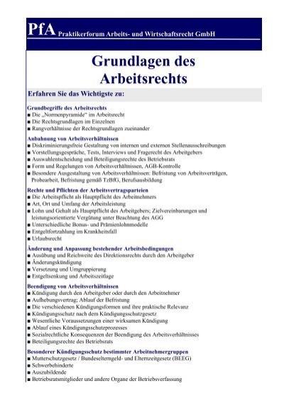 Grundlagen Des Arbeitsrechts Pfa Praktikerforum Arbeits Und