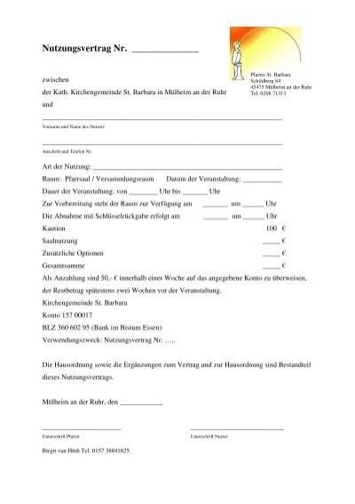 Nutzungsvertrag Pfarrsaal Der Kirchengemeinde