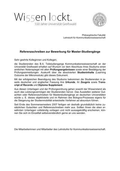 referenzschreiben zur bewerbung fr master studiengnge - Uni Greifswald Bewerbung