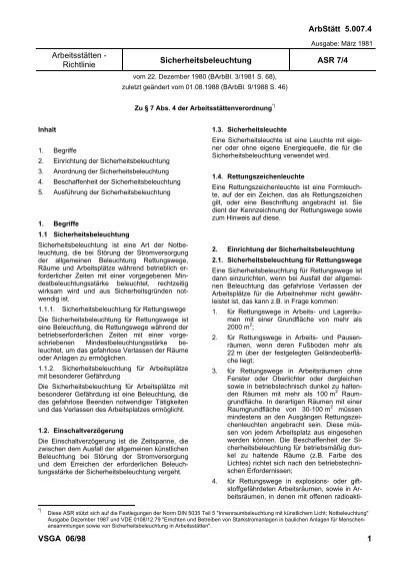 Arbeitsstaettenrichtlinie, ASR 7/4 - Sicherheitsbeleuchtung