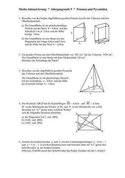 mathe intensivierung jahrgangsstufe 9 prismen und pyramiden. Black Bedroom Furniture Sets. Home Design Ideas
