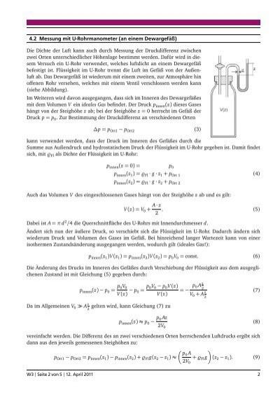 4.2 Messung mitU-Rohrmano
