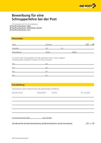 bewerbung fr eine schnupperlehre kv die schweizerische post - Post Bewerbung