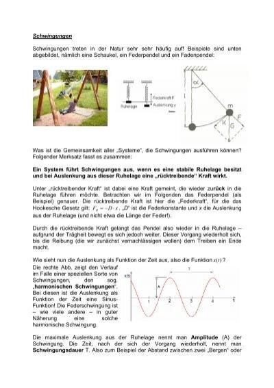 Schwingungen Schwingungen treten in der Natur ... - Psiquadrat.de