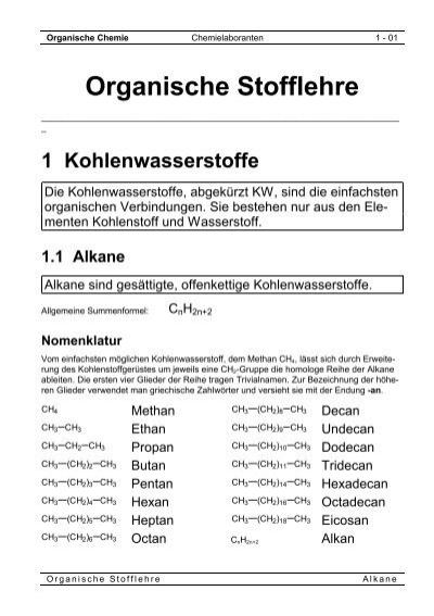 Die homologe Reihe der Alkane - Raumzeitwellen.de