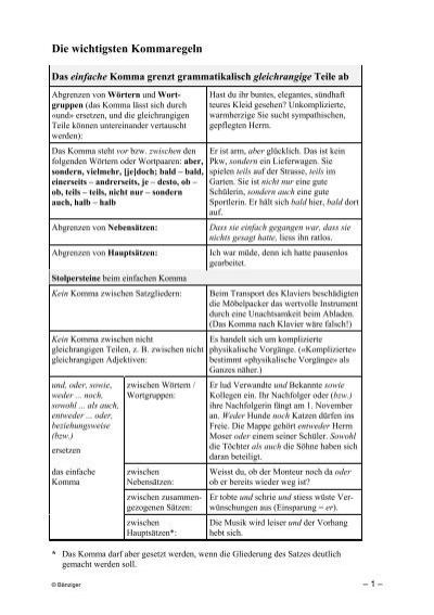 Die wichtigsten kommaregeln biologie studium arbeit