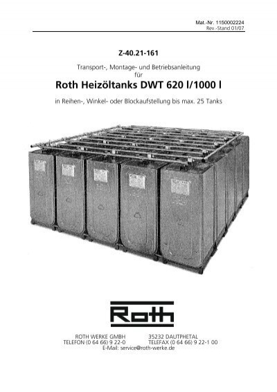 roth heiz ltanks dwt 620 l 1000 l roth werke. Black Bedroom Furniture Sets. Home Design Ideas