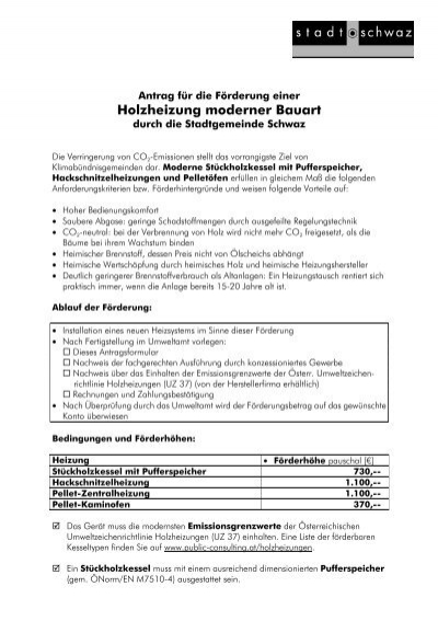 Formular Holzheizungs-Förderung 0902 - Schwaz