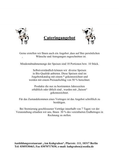 Cateringangebot 2009 Gast Sozdia