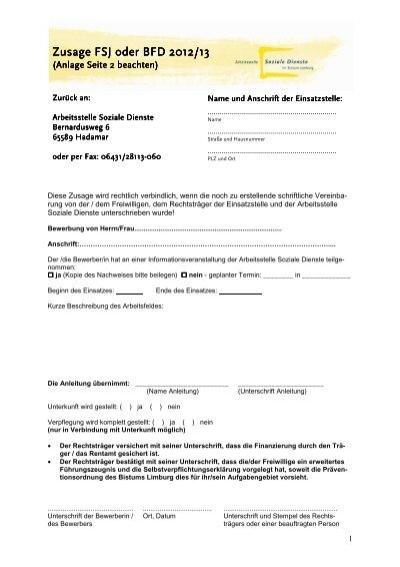 formular zusage fsj bfd bis27 fachstelle freiwilligendienste - Bewerbung Zusage