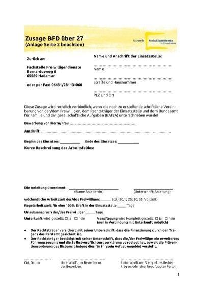formular zusage bfd 27 fachstelle freiwilligendienste im - Bewerbung Zusage