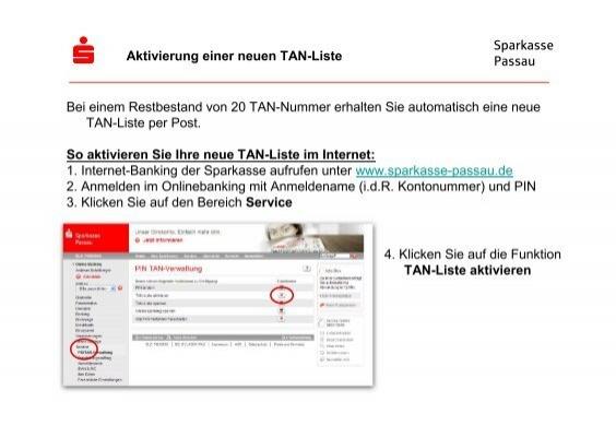 Sparkasse Passau Bei Einem Restbestand Von 20 Tan Nummer