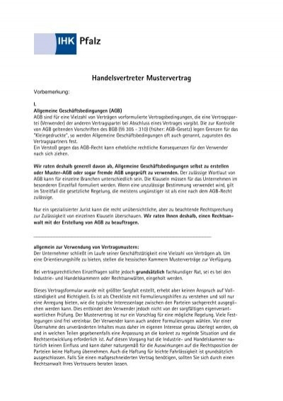 Muster Handelsvertretervertrag Pdf Starterzentrum Rlpde