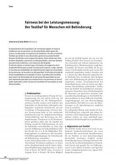 fairness bei der leistungsmessung der testdaf testdaf institut - Testdaf Prufung Beispiel Pdf