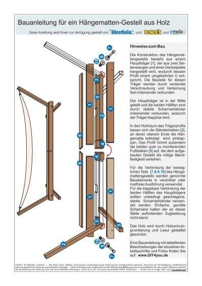 Hängemattengestell Selber Bauen bauanleitung für ein klappbares hängematten gestell aus holz