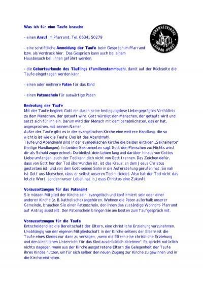 Weitere Infos Zur Taufe Pdf Evangelische Kirche Der Pfalz