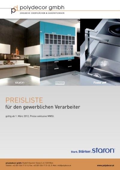 01 staron preisliste tschabrun. Black Bedroom Furniture Sets. Home Design Ideas