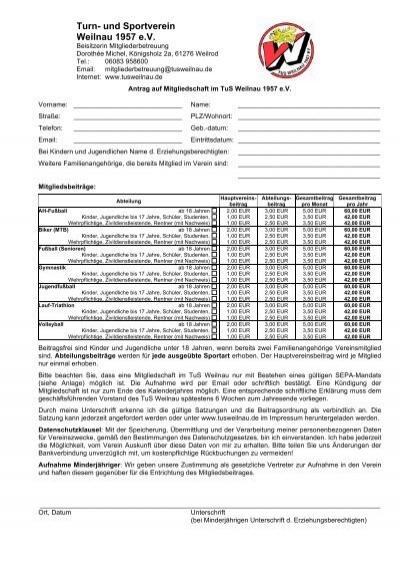 mitgliedsantrag sepa vorlage fr pdf tus weilnau 1957 ev - Mitgliedsantrag Verein Muster