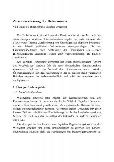 Brockfeld Susanne Zusammenfassung Der Diskussionen Text