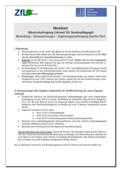 Merkblatt Zur Bewerbung Fã¼r Den Master Lso