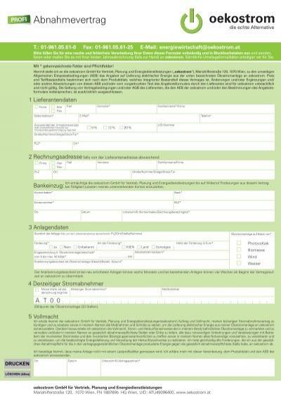 Oekostrom Profi Vertrag Für Bestehende Anlagen über 5kwp