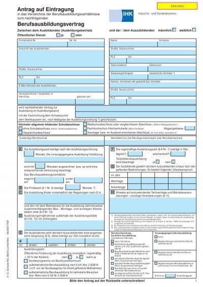 Antrag auf eintragung berufsausbildungsvertrag for Schulze lichtenfels