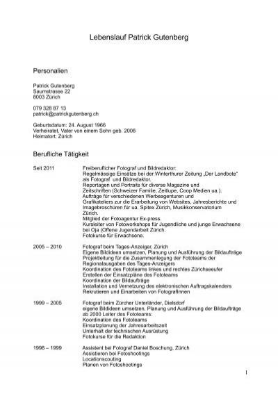 Lebenslauf Pdf 46 Kb Patrick Gutenberg
