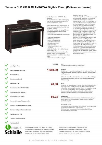 yamaha clp 430 r clavinova digital piano rosenholz. Black Bedroom Furniture Sets. Home Design Ideas